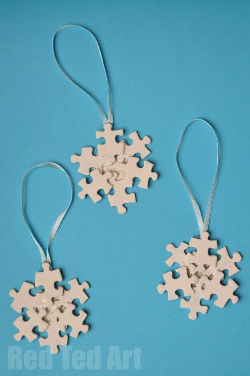 Snowflake Ornaments from Puzzle Pieces