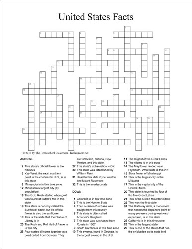 United States State Facts Crossword Puzzle | The Homeschool Classroom