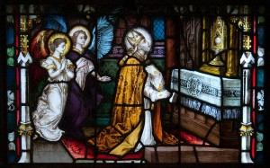 St. Alphonsus kneeling before the Most Holy Sacrament