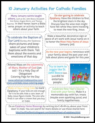 10 Activities for Catholic Families in January Printabl