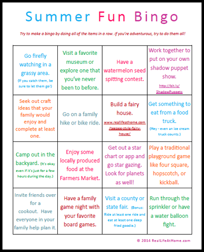 Fun Summer Activities for Families Printable