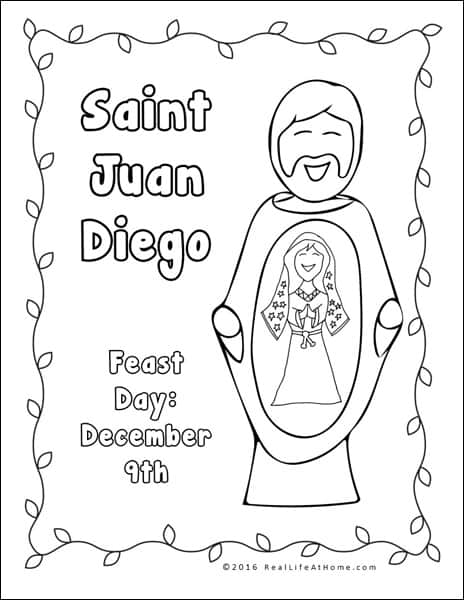 Saint Juan Diego Coloring Page - Part of the Our Lady of Guadalupe and St. Juan Diego Printables Packet from Real Life at Home