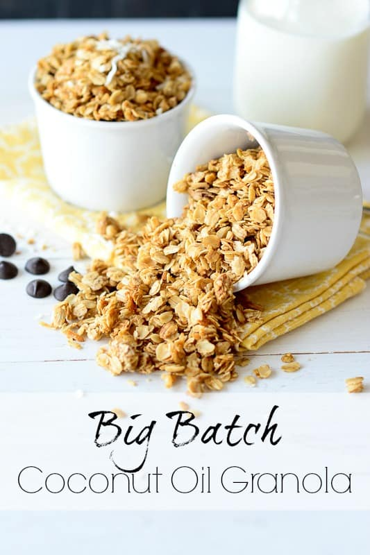 Big Batch Coconut Oil Granola Recipe - Yum! This is a great, budget-friendly breakfast option. It's fabulous on its own or as a topping for things like yogurt. | RealLifeAtHome.com
