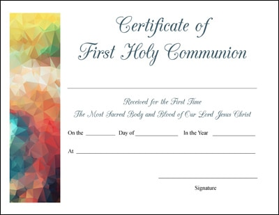 Free Printable Baptism, First Communion, and Confirmation Certificates