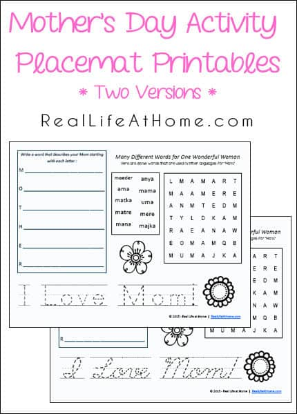 mother 39 s day activity placemat free printables. Black Bedroom Furniture Sets. Home Design Ideas