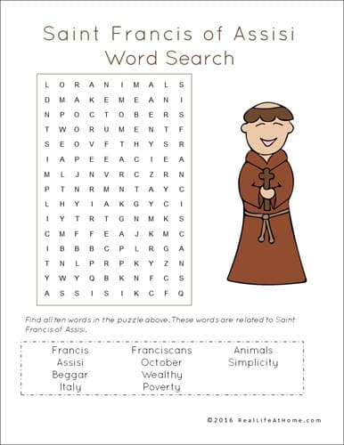 St. Francis of Assisi Word Search Printable from Real Life at Home (part of the 43 page St. Francis Printables Packet)