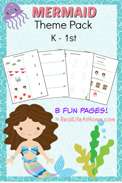Free Kindergarten Worksheets Printable Packets : Mermaid printables packet for preschoolers
