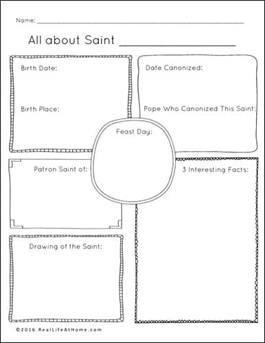 Saint Mini Report Printable Featured in the All Saints' Day Printables Packet from Real Life at Home