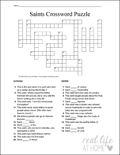 Version Two from the Saints Crossword Puzzle Set