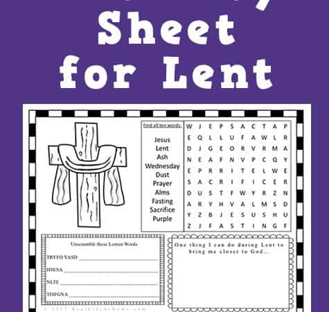 Ash Wednesday or Lent Activity Page Printable