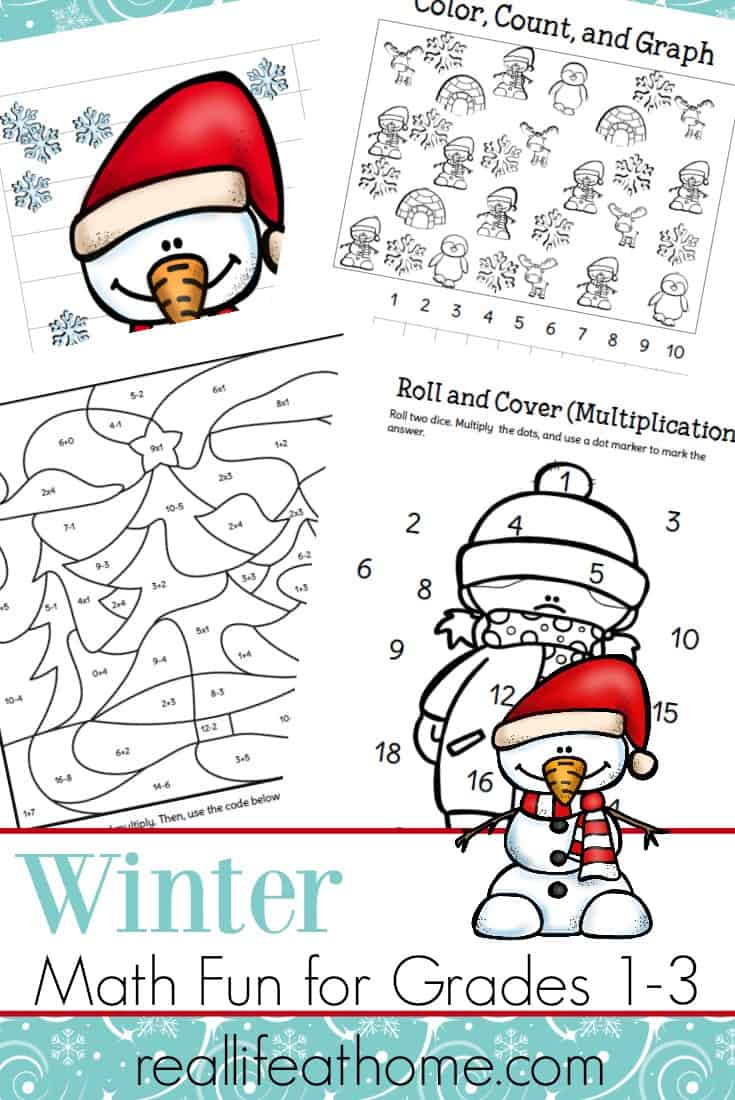 Fun Printable Packet of Winter Math Worksheets for 1st 3rd Grade – Free Printable Fun Math Worksheets