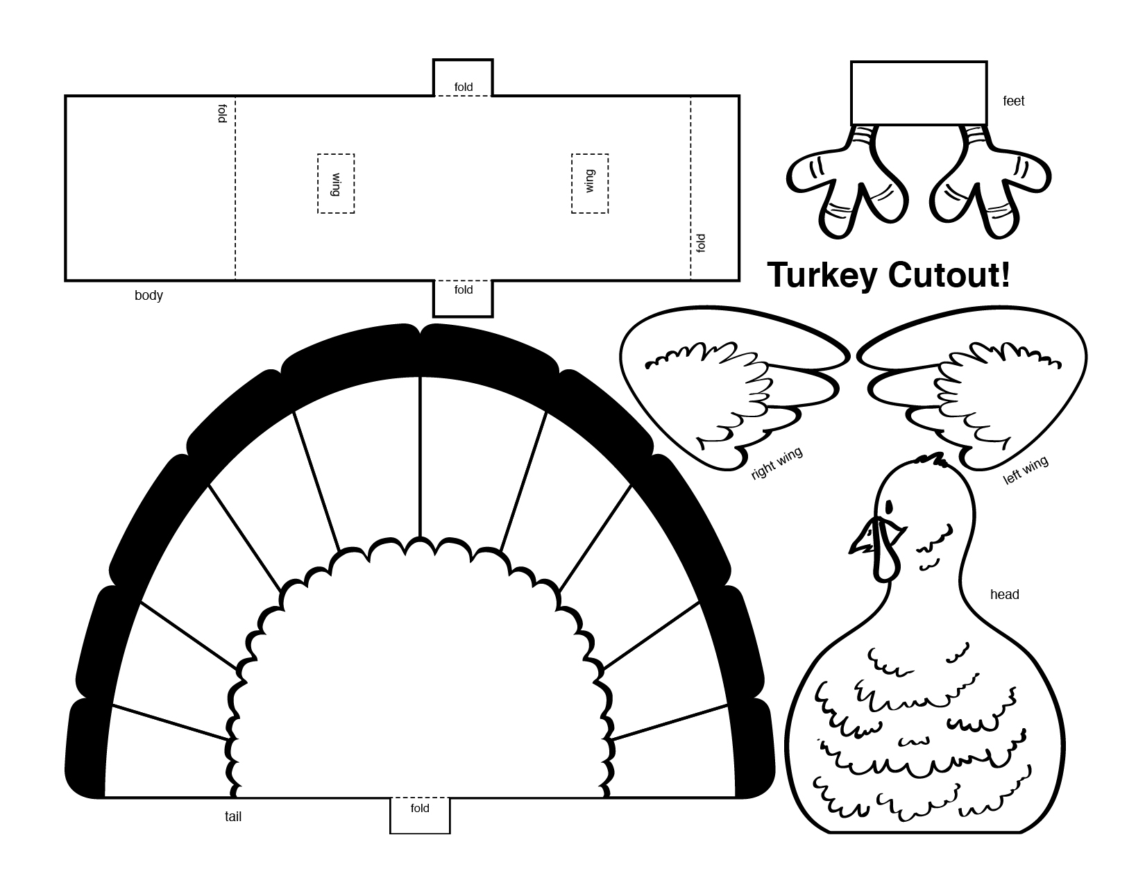turkey head coloring page - thanksgiving 3d turkey cutout downloadable art project for