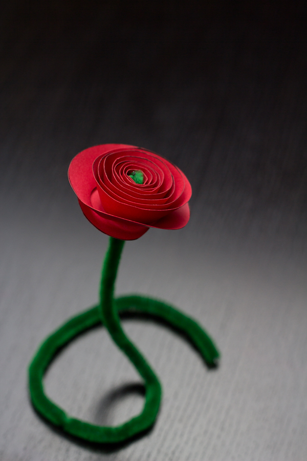 Super Easy Valentines Paper Rose Cutout