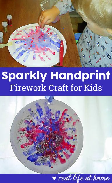 This handprint firework craft is a quick and easy activity for young children. It's perfect for Independence Day (4th of July), New Year's, Guy Fawkes Day, and more.   Real Life at Home