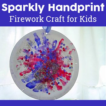 This handprint firework craft is a quick and easy activity for young children. It's perfect for Independence Day (4th of July), New Year's, Guy Fawkes Day, and more. | Real Life at Home