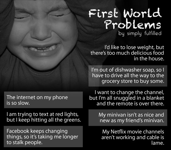 "the first world problems The ""first world problems"" meme is an effective reminder that people love to complain though not unheard of before, the idea of ""first world problems"" only came to prominence with the internet and the surge of social media websites a first world problem is one that ultimately is not so."