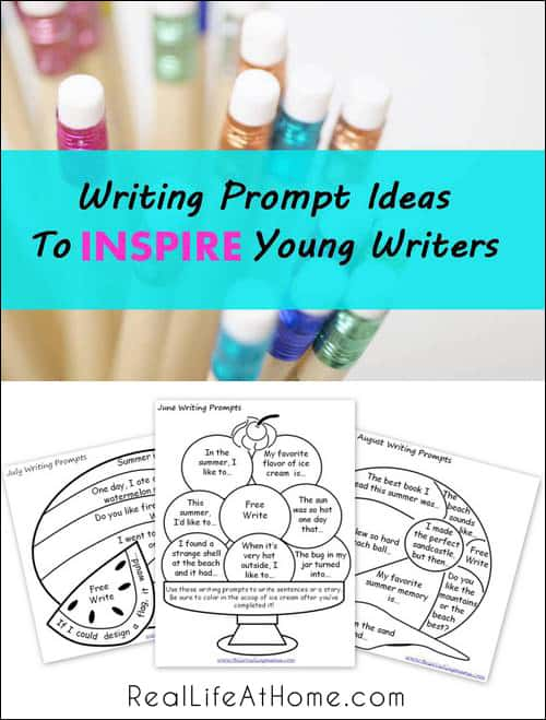 Ways to Inspire Young Writers {Plus Free Printable Writing Prompts for June, July, and August!}