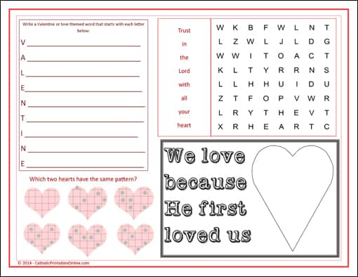 St Valentine S Day Activity Page Placemat Printable