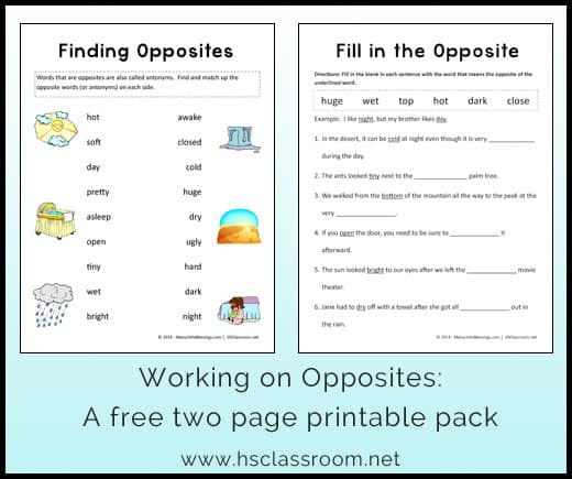 Opposites Worksheet Printable Packet – Kindergarten Opposites Worksheet
