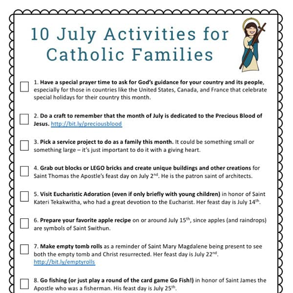 July Activities for Catholic Families free printable from Real Life at Home