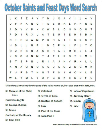 October Saints and Feast Days Word Search Printable | RealLifeAtHome.com