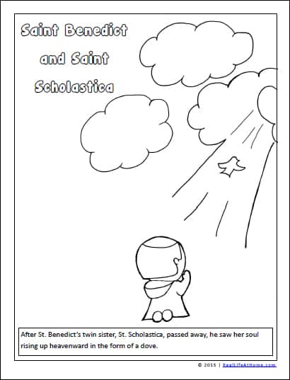 Free coloring page of twins St. Benedict and St. Scholastica depicting a scene after Saint Scholastica's passing | RealLifeAtHome.com
