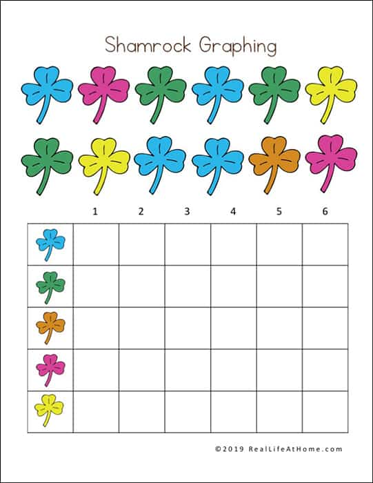 Shamrock Graphing Page from Saint Patrick Printable Packet (Real Life at Home)