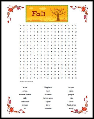 Fall Themed Word Search - Free Printable Page for Kids