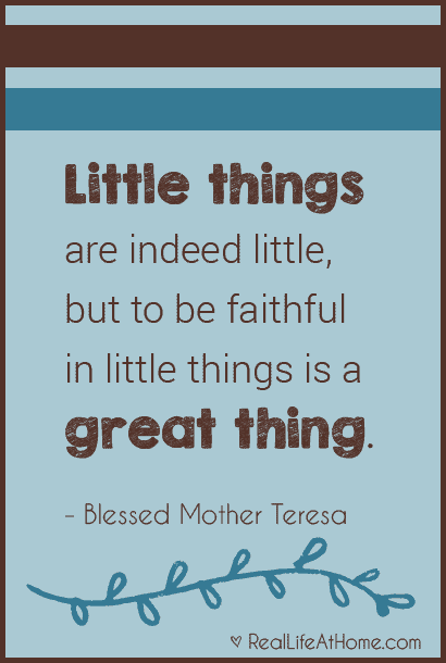 Little things are indeed little, but to be faithful in little things is a great thing. - Blessed Mother Teresa of Calcutta