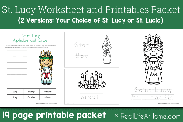 saint lucy printables and worksheet packet with st lucia version