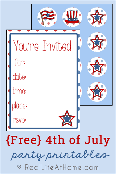 Free 4th of July Party Printables Download {includes invitations and cupcakes toppers}