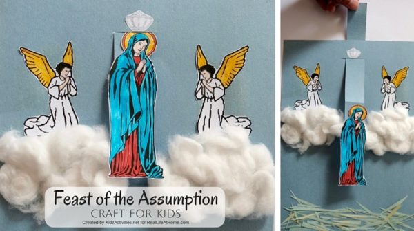 Feast of the Assumption Craft with Free Printable created by Kidz Activities for Real Life At Home