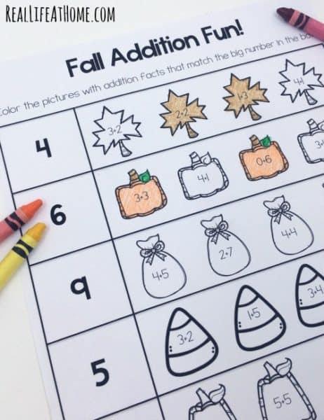 Math Worksheets fall math worksheets : Fun Fall Math Worksheets Pack (Kindergarten-First Grade)