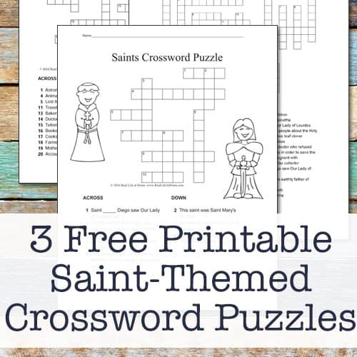 Three Free Printable Catholic Saint Crossword Puzzles