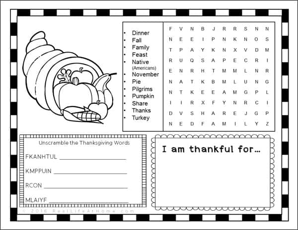 Thanksgiving Place Mat or Activity Page - Free Printable
