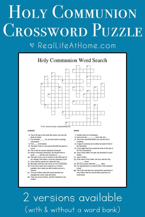 A free printable Holy Communion crossword puzzle, perfect for Catholic kids preparing for First Communion or those already receiving Holy Communion. | Real Life at Home