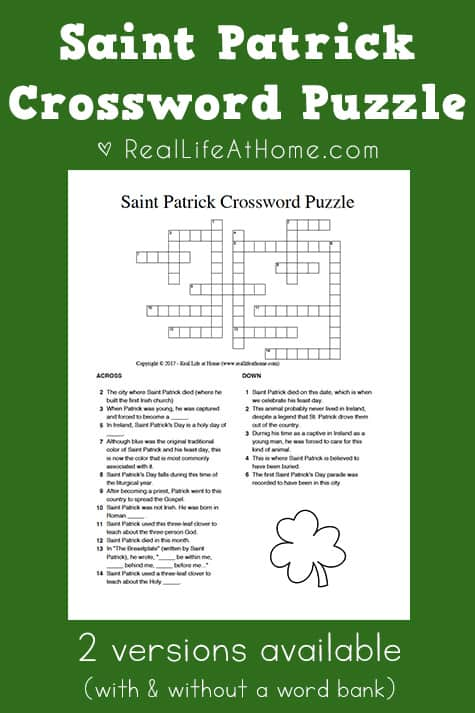 Saint Patrick Crossword Puzzle Free Printable (includes two versions - with and without a word bank)