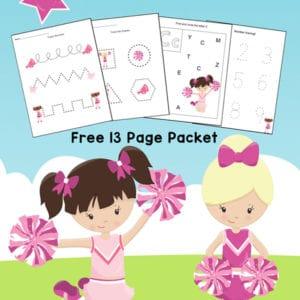 Free Cheerleader Printables Packet for preschool and kindergarten featuring cheerleading worksheets with basic skills plus 3 fun cheerleading coloring pages