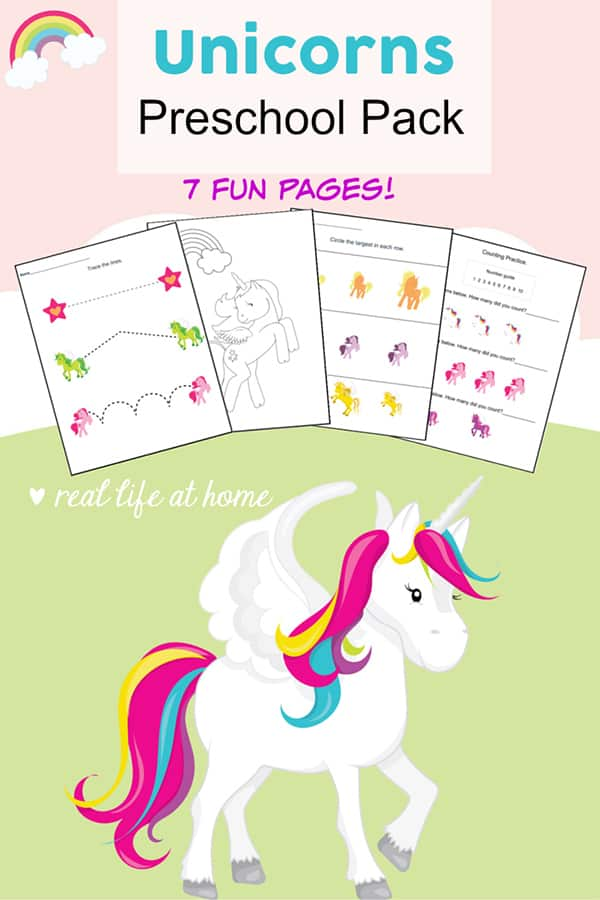 Fun basic skills practice with these magical unicorns printables packet! Free unicorn printables worksheets packet for preschool children featuring coloring, cutting, numbers, pre-writing, and more. #Unicorns #UnicornPrintables #UnicornWorksheets