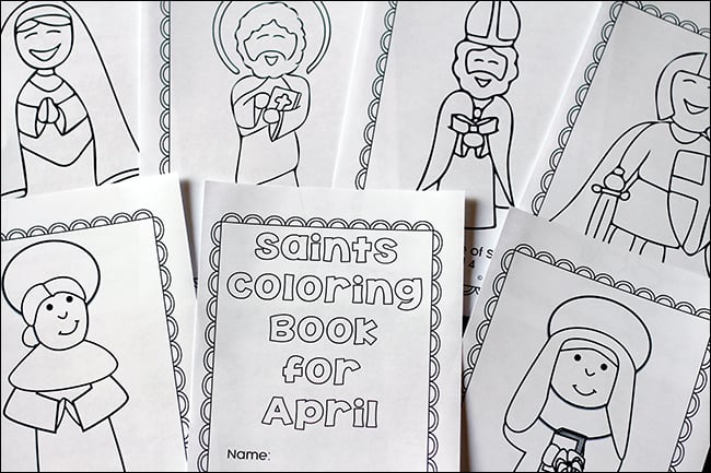 Pages from the April Saints Coloring Book   Real Life at Home