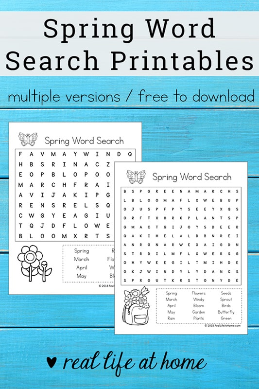 Free Spring Word Search Printable for Kids - {Free Printable available as an instantly downloadable pdf file} - perfect for class parties, spring gatherings, or just a fun time filler for early finishers of work. This printable includes Spring-themed search terms. | Real Life at Home