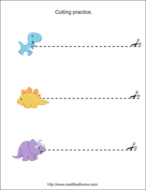 Dinosaur Line Tracing Page from Free Dinosaur Printables Packet on Real Life at Home