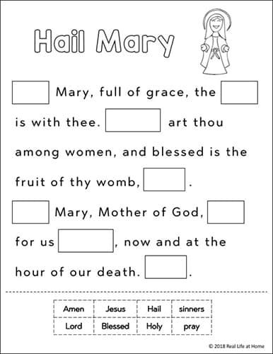 Hail Mary cut apart prayer activity - free printable from Real Life at Home