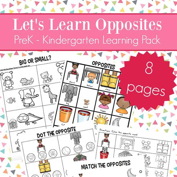 Opposites Worksheets for Kindergarten and Preschool: Free eight page learning packet with printables all about opposites for preschoolers and kindergarteners {Free Antonyms Worksheets} | Real Life at Home