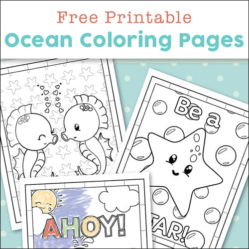 This super cute set of free printable ocean coloring pages are sure to delight whether it's for an ocean animal unit study or just for fun. #OceanAnimals #OceanColoringPages #OceanFun #OceanUnitStudy