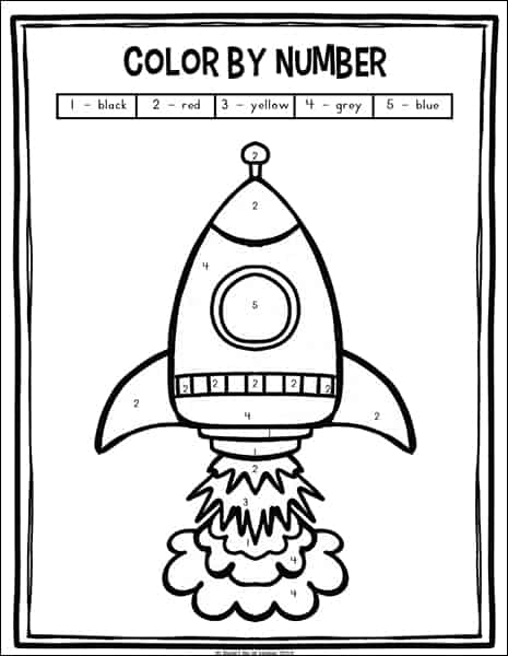 Color by number rocket coloring page (from the free outer space preschool and kindergarten math worksheets packet on Real Life at Home)