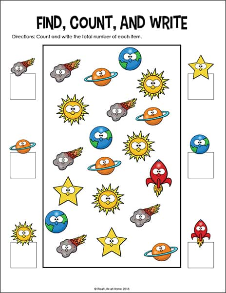Outer Space I Spy Math page (Part of the Free Outer Space Math Worksheets Packet)