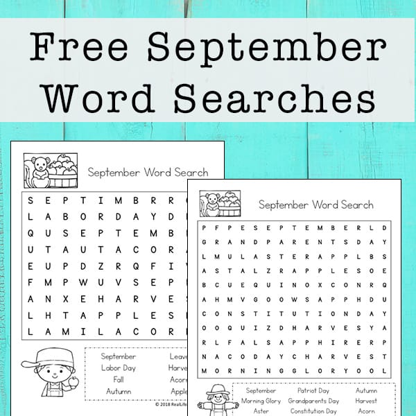 September Word Search Printable for Kids   Real Life at Home