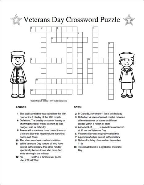 free Veterans Day crossword puzzle found on RealLifeAtHome.com