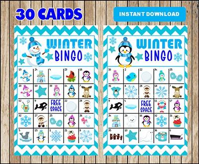 Winter Bingo Card Printable Set